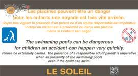 Panneau surveillance des enfants piscine