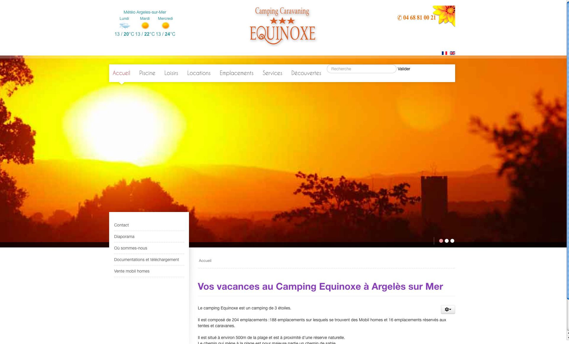 Site internet camping Équinoxe